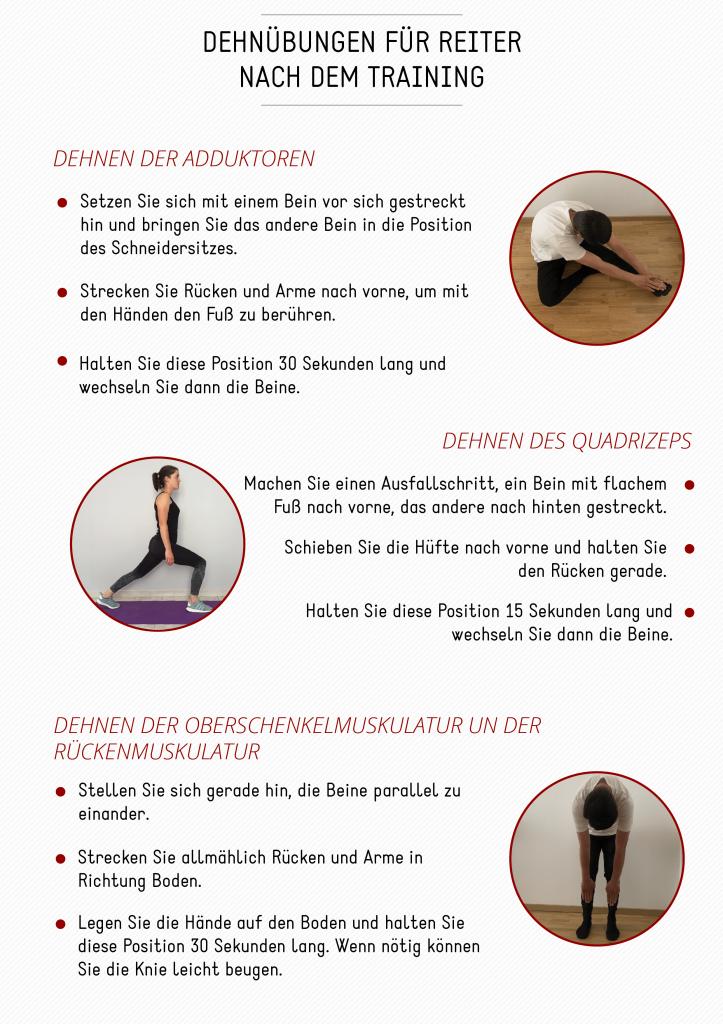 dehnübungen reiters stärkung der muskulatur
