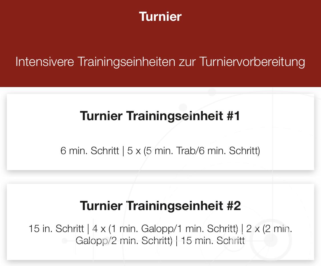 Turner program Kardio pferdes iSPORT app CWD
