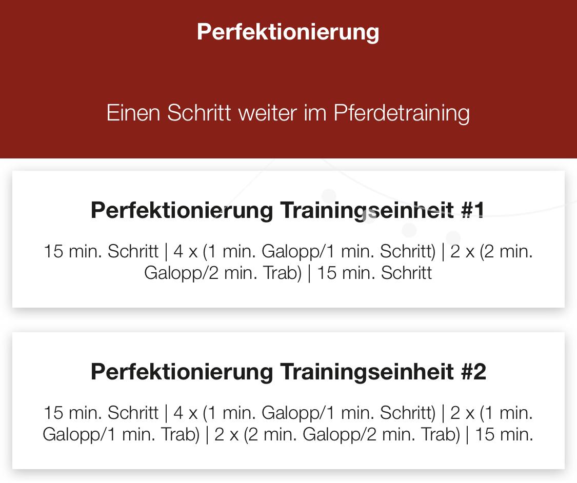Perfektionierung program Kardio pferdes iSPORT app CWD